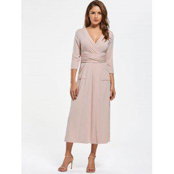 V Neck Pockets High Slit Midi Surplice Dress - 2XL 2XL