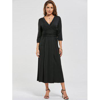 V Neck Pockets High Slit Midi Surplice Dress - XL XL