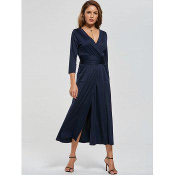 V Neck Pockets High Slit Midi Surplice Dress - L L