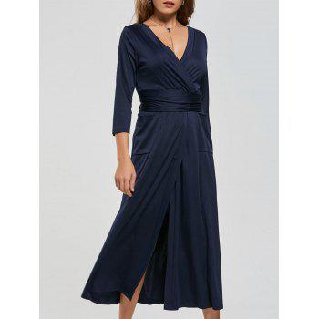 V Neck Pockets High Slit Midi Surplice Dress - PURPLISH BLUE L