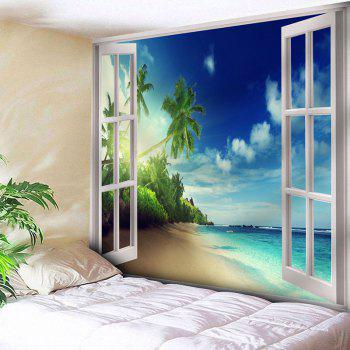 Wall Hanging Window Beach Microfiber Tapestry