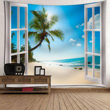Window Beach Print Wall Hanging Microfiber Tapestry - BLUE W91 INCH * L71 INCH