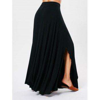Asymmetrical Maxi Skirt with Bowknot Lace Up - BLACK S