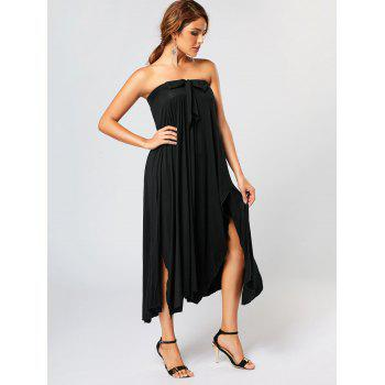 Asymmetrical Maxi Skirt with Bowknot Lace Up - BLACK M
