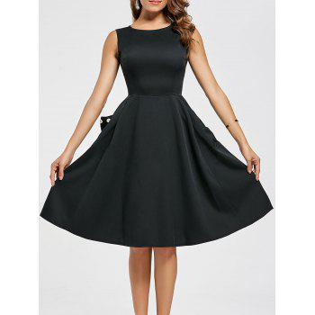 Pockets Fit and Flare Sleeveless Dress - BLACK BLACK