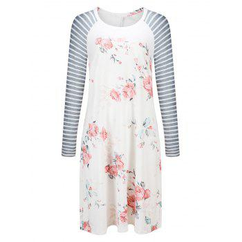 Striped Long Sleeve Floral Shift Dress - WHITE WHITE