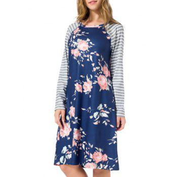 Striped Long Sleeve Floral Shift Dress - BLUE BLUE