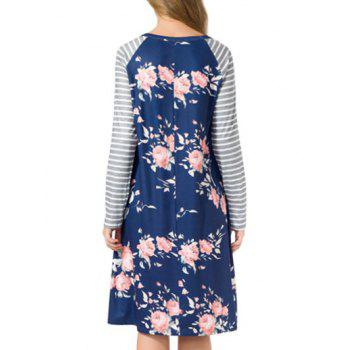 Striped Long Sleeve Floral Shift Dress - M M