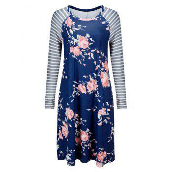 Striped Long Sleeve Floral Shift Dress - BLUE S