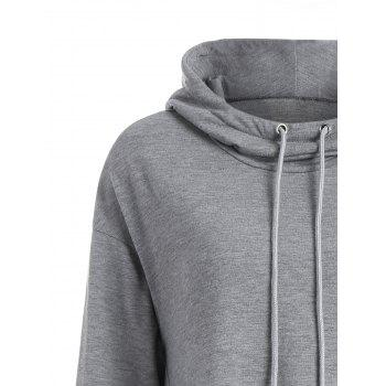 Slash Pockets Longline Dovetail Hoodie - GRAY L