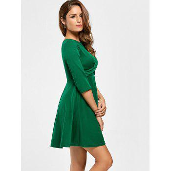Short A Line Day Dress - GREEN GREEN