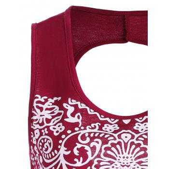 Patterned Backless Tank Top - DEEP RED DEEP RED