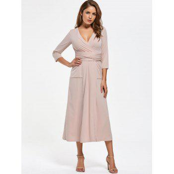 V Neck Pockets High Slit Midi Surplice Dress - NUDE NUDE