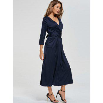 V Neck Pockets High Slit Midi Surplice Dress - PURPLISH BLUE PURPLISH BLUE