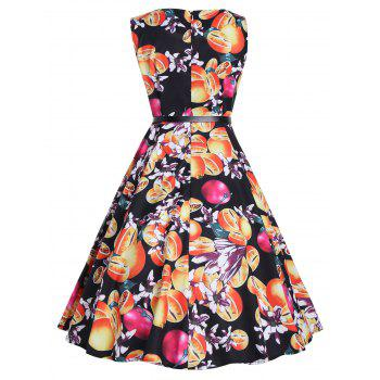 Vintage Print A Line Party Dress - BLACK 2XL
