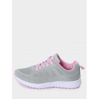 Mesh Eyelet Embroidery Athletic Shoes - PINK/GREY 40