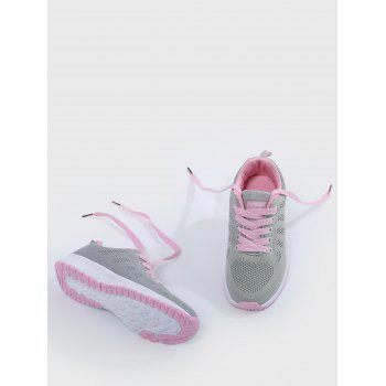 Mesh Eyelet Embroidery Athletic Shoes - PINK/GREY 39