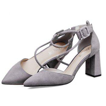 Block Heel Pointed Toe Pumps - GRAY 39
