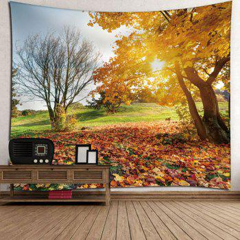 Microfiber Wall Hanging Autumn Landscape Tapestry - YELLOW W79 INCH * L59 INCH
