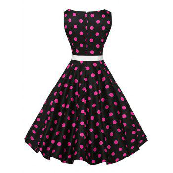 Vintage Sleeveless Polka Dot Belt Dress - PLUM PLUM