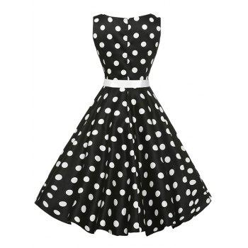 Vintage Sleeveless Polka Dot Belt Dress - BLACK BLACK
