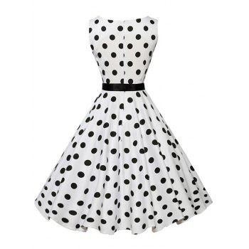 Vintage Sleeveless Polka Dot Belt Dress - WHITE WHITE