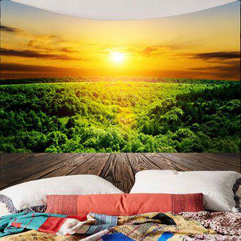 Sunset Forest Waterproof Wall Tapestry - GREEN W59 INCH * L59 INCH