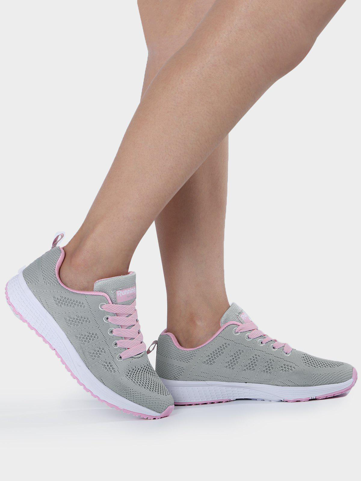 Mesh Eyelet Embroidery Athletic Shoes - PINK/GREY 37
