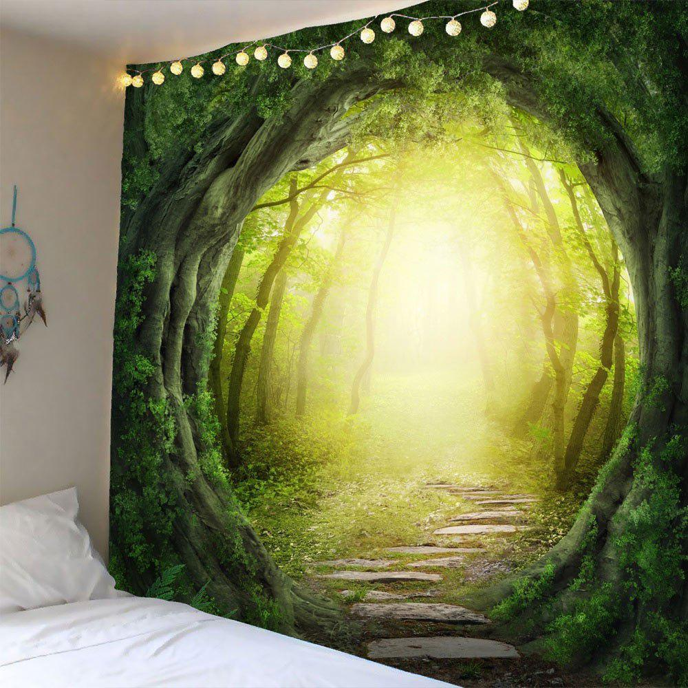 2018 Pathway Tree Hole Waterproof Wall Art Tapestry GREEN W INCH L ...