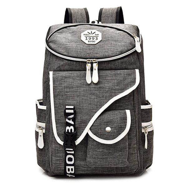 Casual Letter Jacquard Strap Backpack