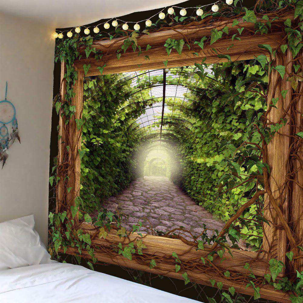 Vine Leaves in Frame Waterproof Wall Tapestry - GREEN W79 INCH * L59 INCH