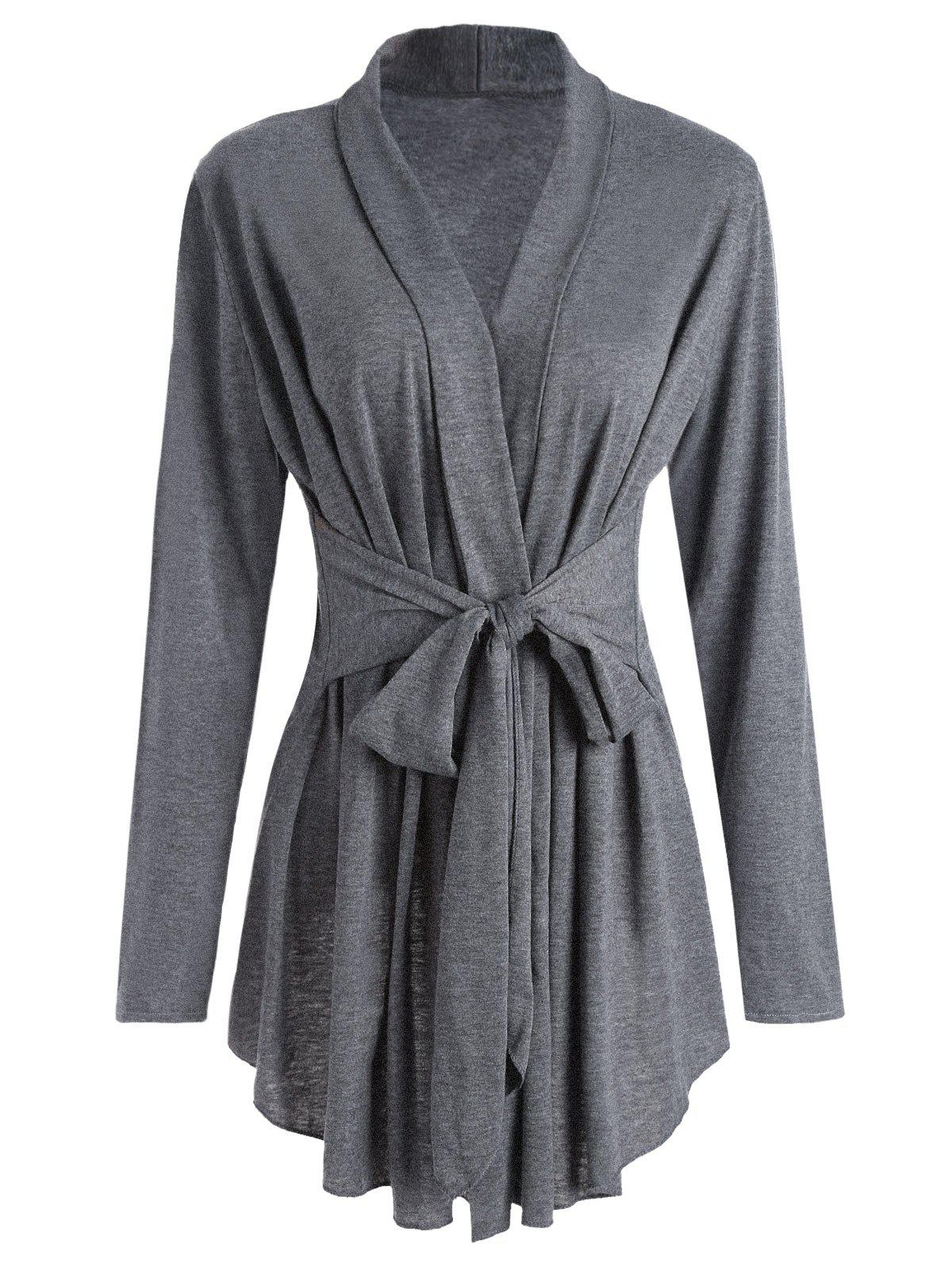 Shawl Collar Marled Wrap Cardigan - GRAY 2XL