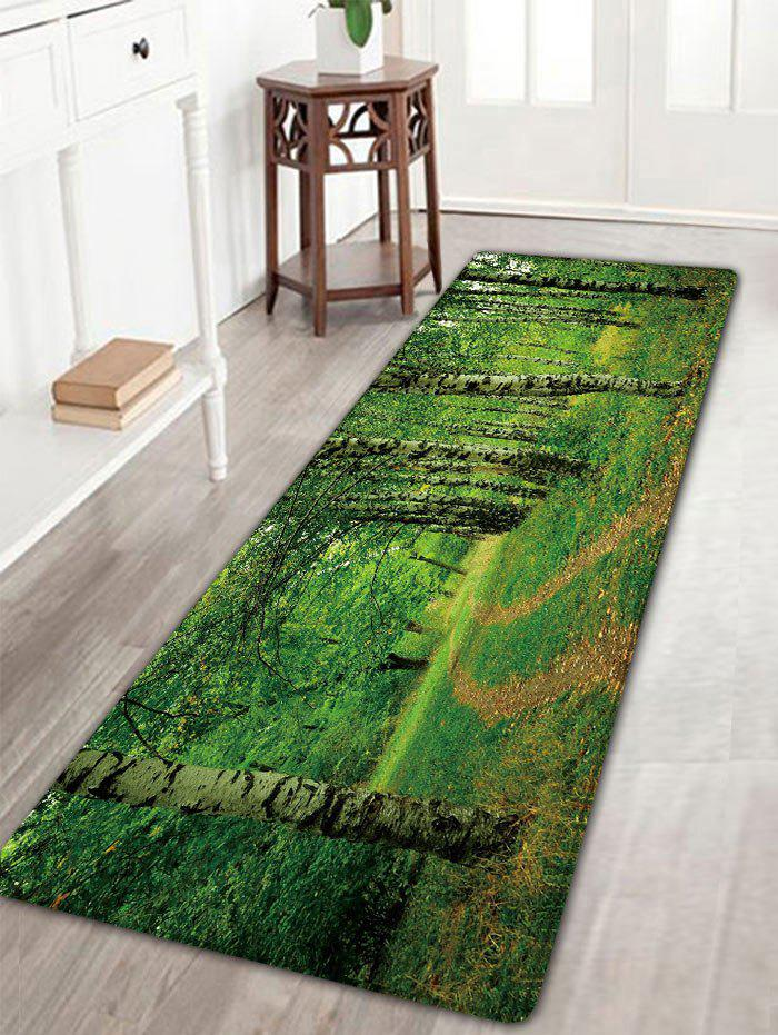 Forest Print Flannel Skidproof Bathroom Rug, GREEN, W INCH