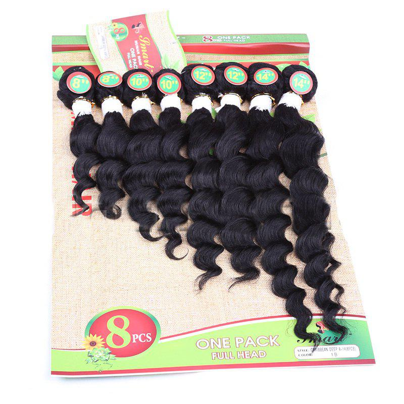 8PCS Different Sizes Caribbean Deep Wave Hair Weaves - BLACK