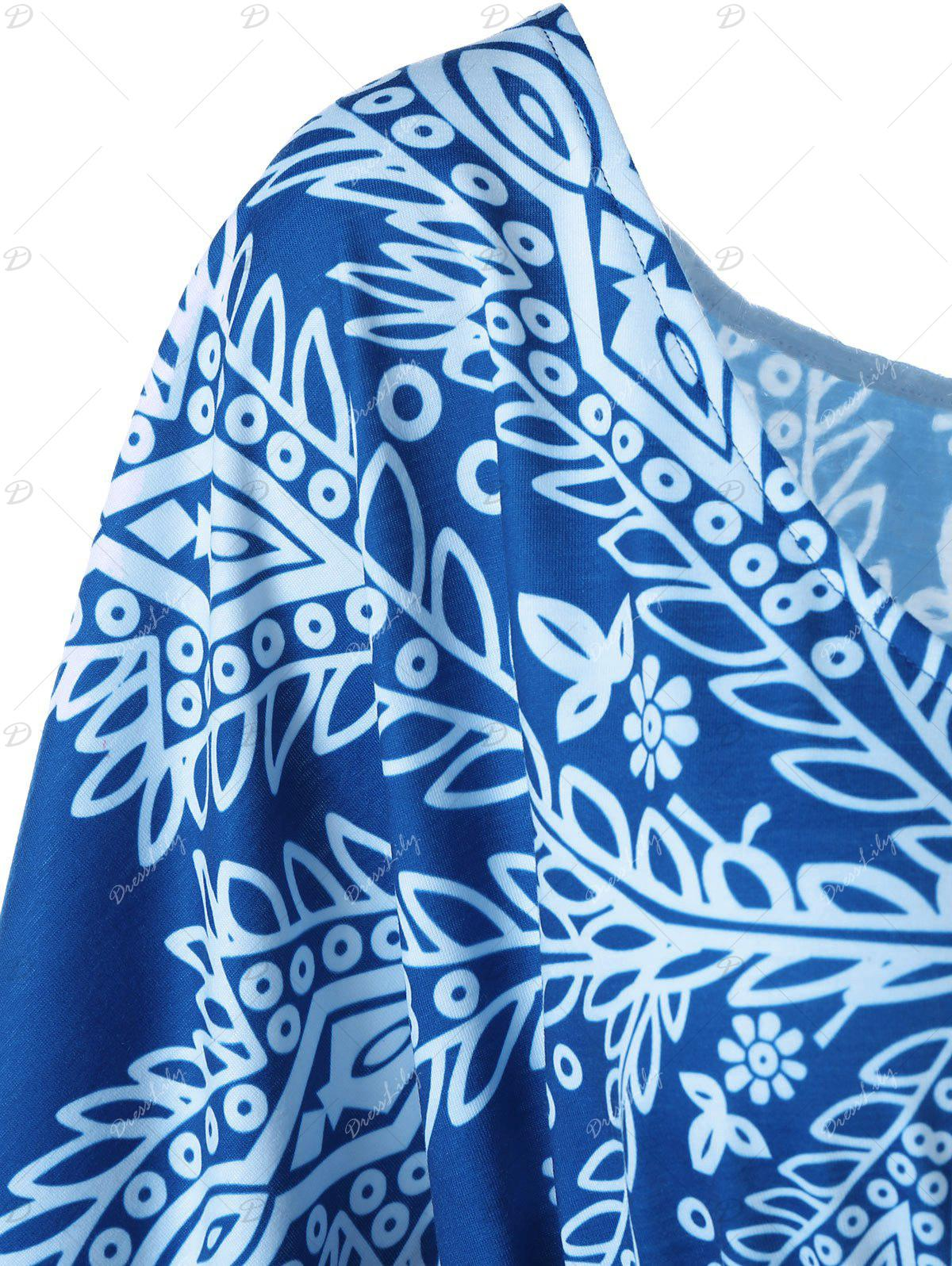 Print Butterfly Sleeve Plus Size Top - multicolorcolore XL