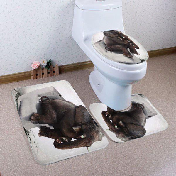 Thinker Elephant Pattern 3 Pcs Bathroom Toilet Mat halloween bloody hand pattern 3 pcs bathroom toilet mat