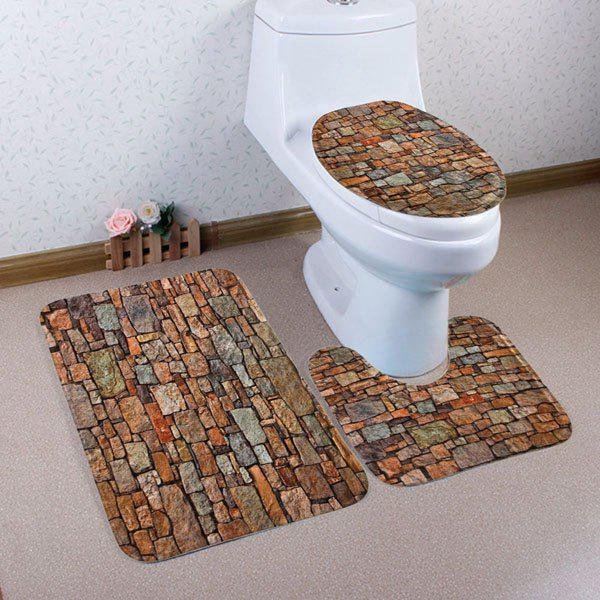 Vintage Brick Coral Fleece 3Pcs Toilet Mats Set - BROWN