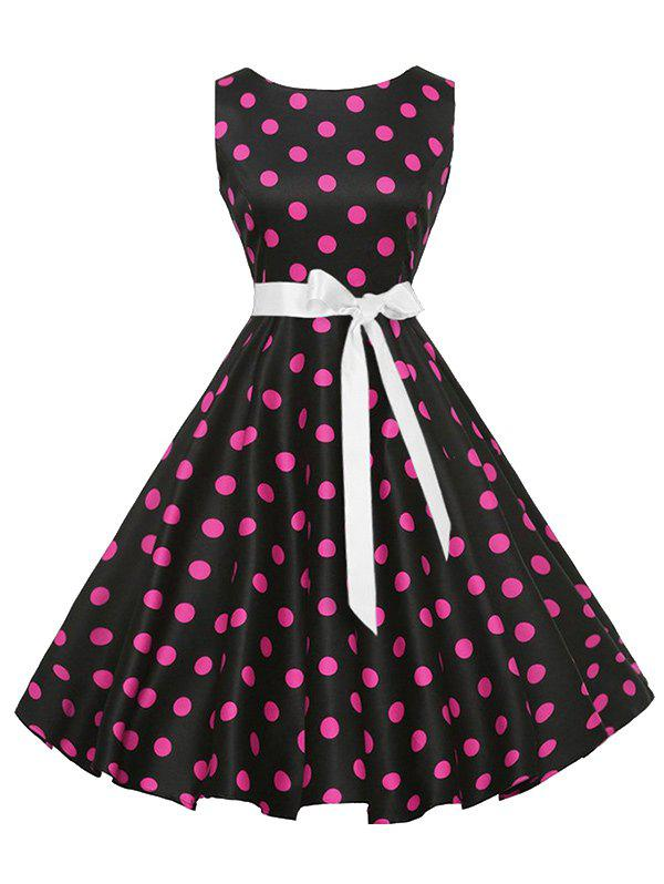 Vintage Sleeveless Polka Dot Belt Dress - PLUM M