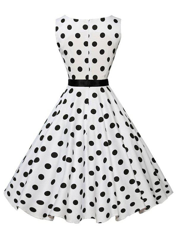 Vintage Sleeveless Polka Dot Belt Dress - WHITE L