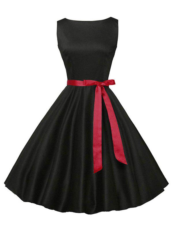 Vintage Sleeveless Plain Dress with Belt - BLACK XL