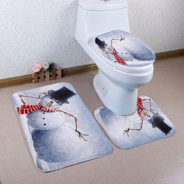 Lying Snowman Pattern 3 Pcs Bathroom Toilet Mat halloween bloody hand pattern 3 pcs bathroom toilet mat