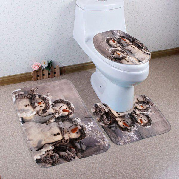 Winter Snowmen Pattern 3 Pcs Bathroom Toilet Mat halloween bloody hand pattern 3 pcs bathroom toilet mat