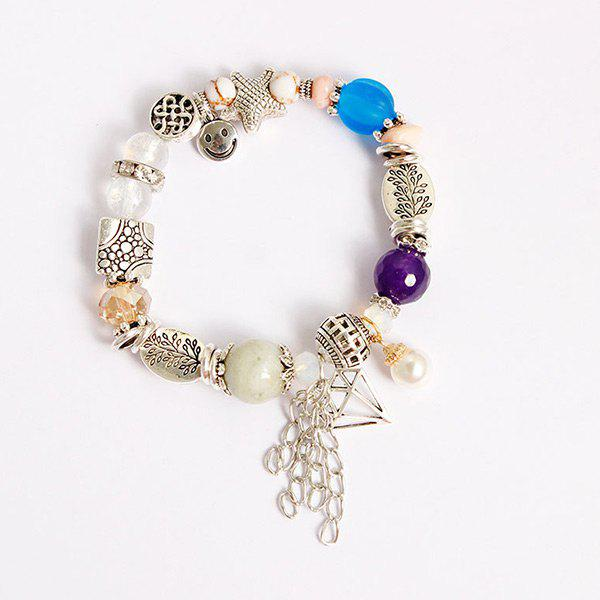 Fringed Starfish Smile Charm Beaded Bracelet - SILVER