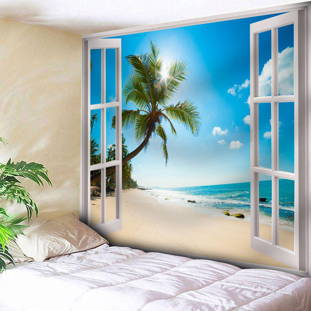Window Beach Print Wall Hanging Microfiber Tapestry - BLUE W79 INCH * L59 INCH