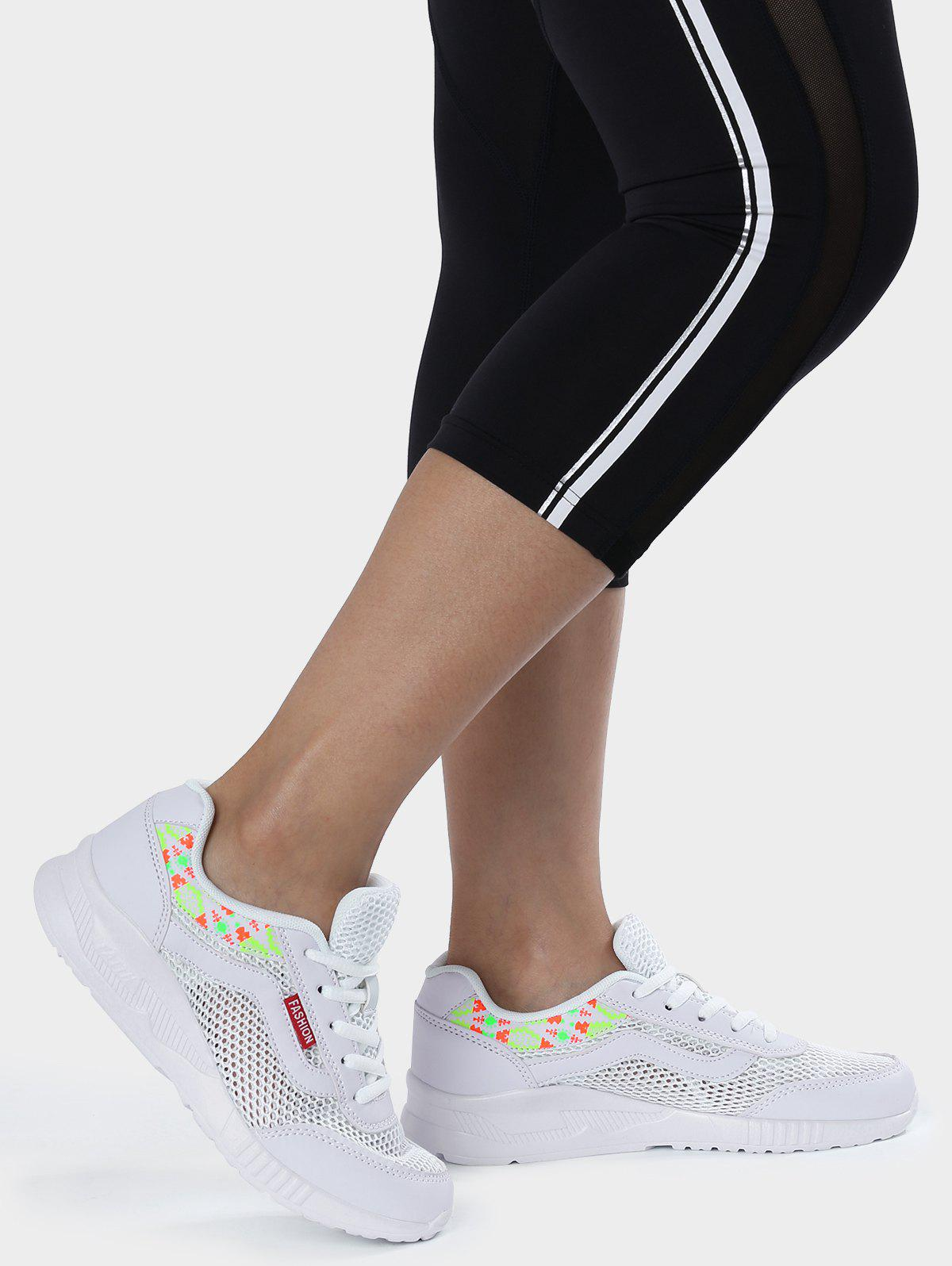 Breathable Geometric Pattern Athletic Shoes - WHITE 39