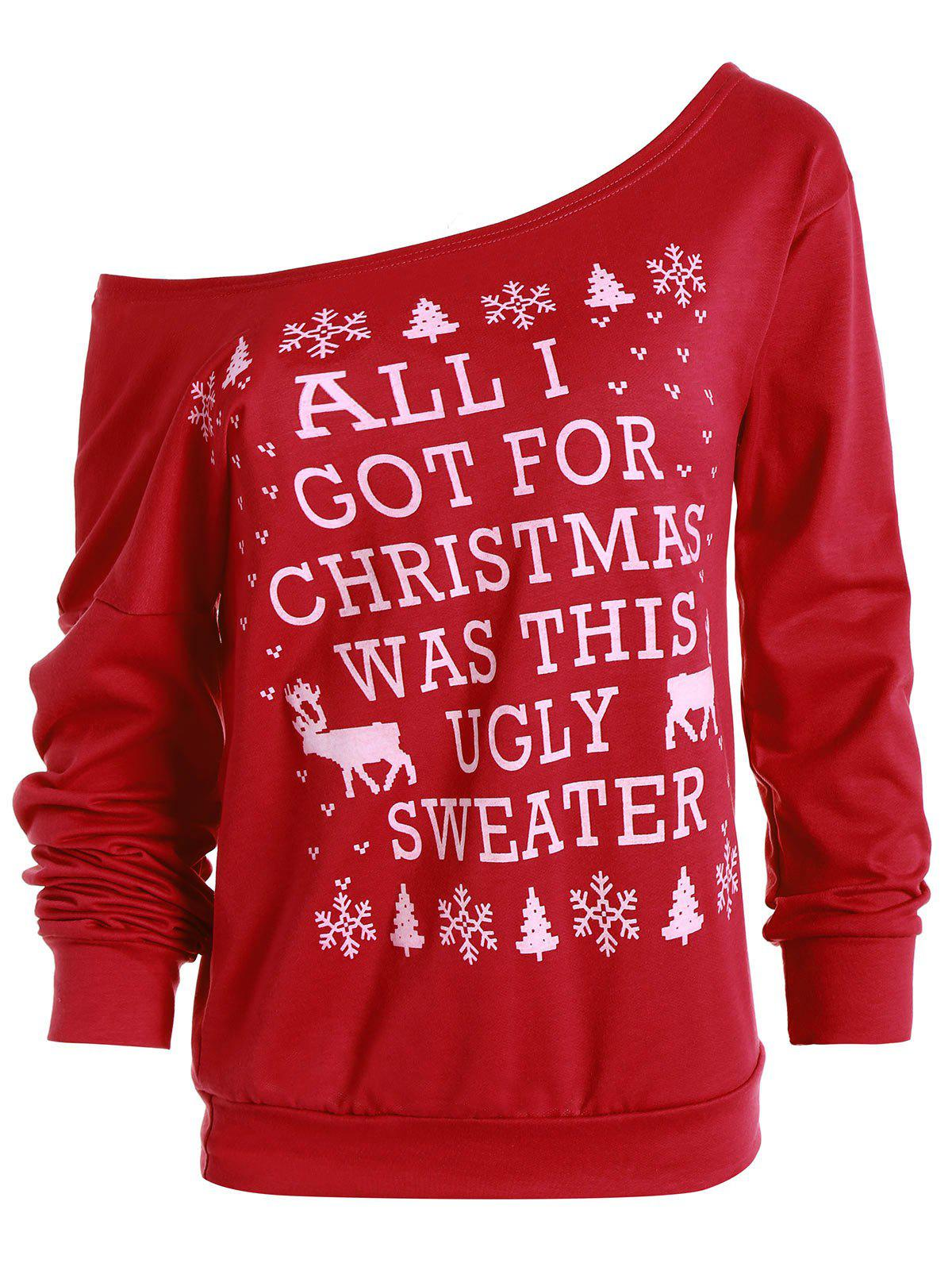 Cute Snowflake and Elk Printed Skew Neck Christmas Sweatshirt For Women - RED M
