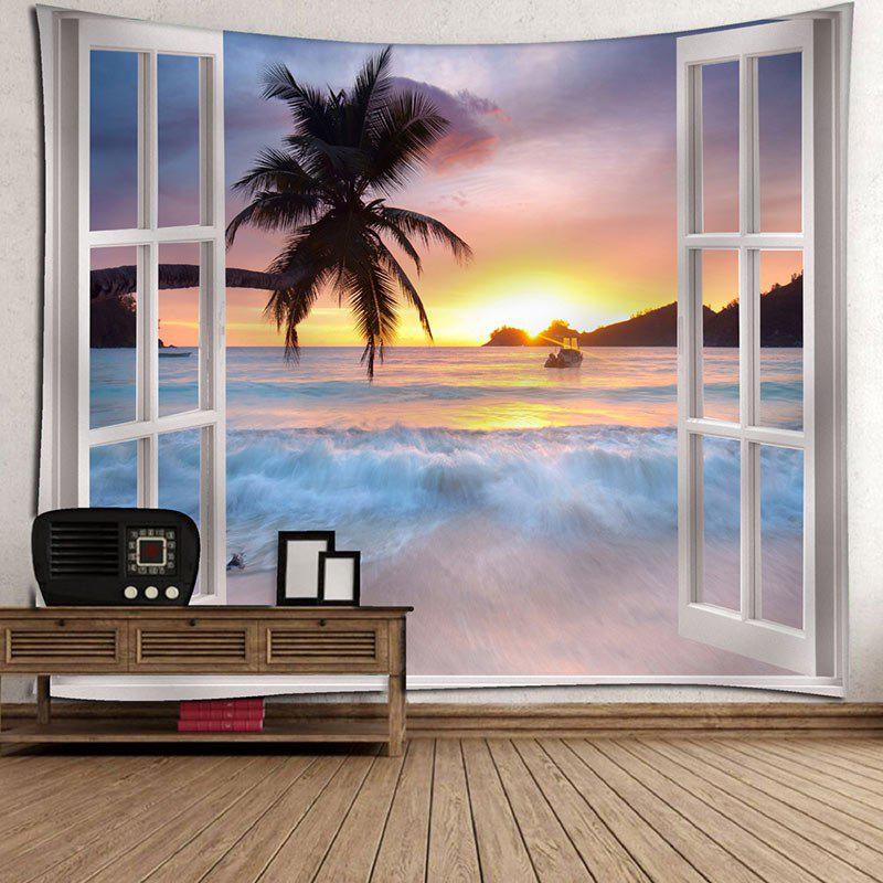 Microfiber Tapestry Window Scenery Wall Hanging - COLORMIX W91 INCH * L71 INCH