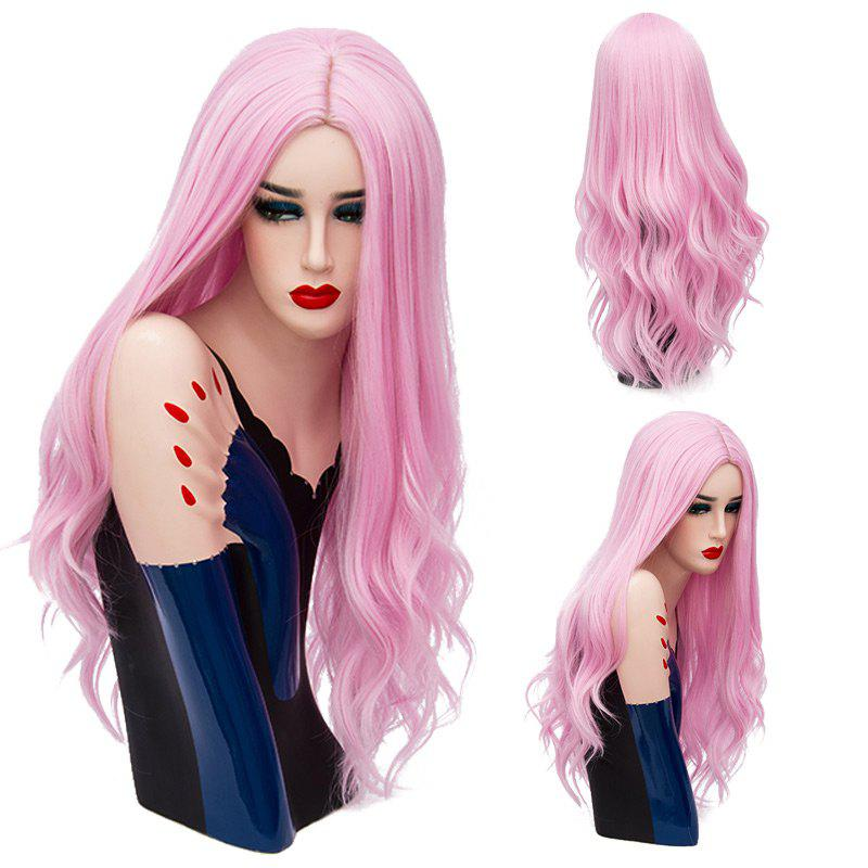 Long Center Part Shaggy Layered Wavy Synthetic Wig - LIGHT PINK