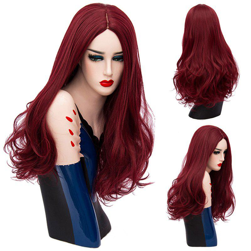 Long Middle Part Shaggy Wavy Synthetic Wig - DARK RED