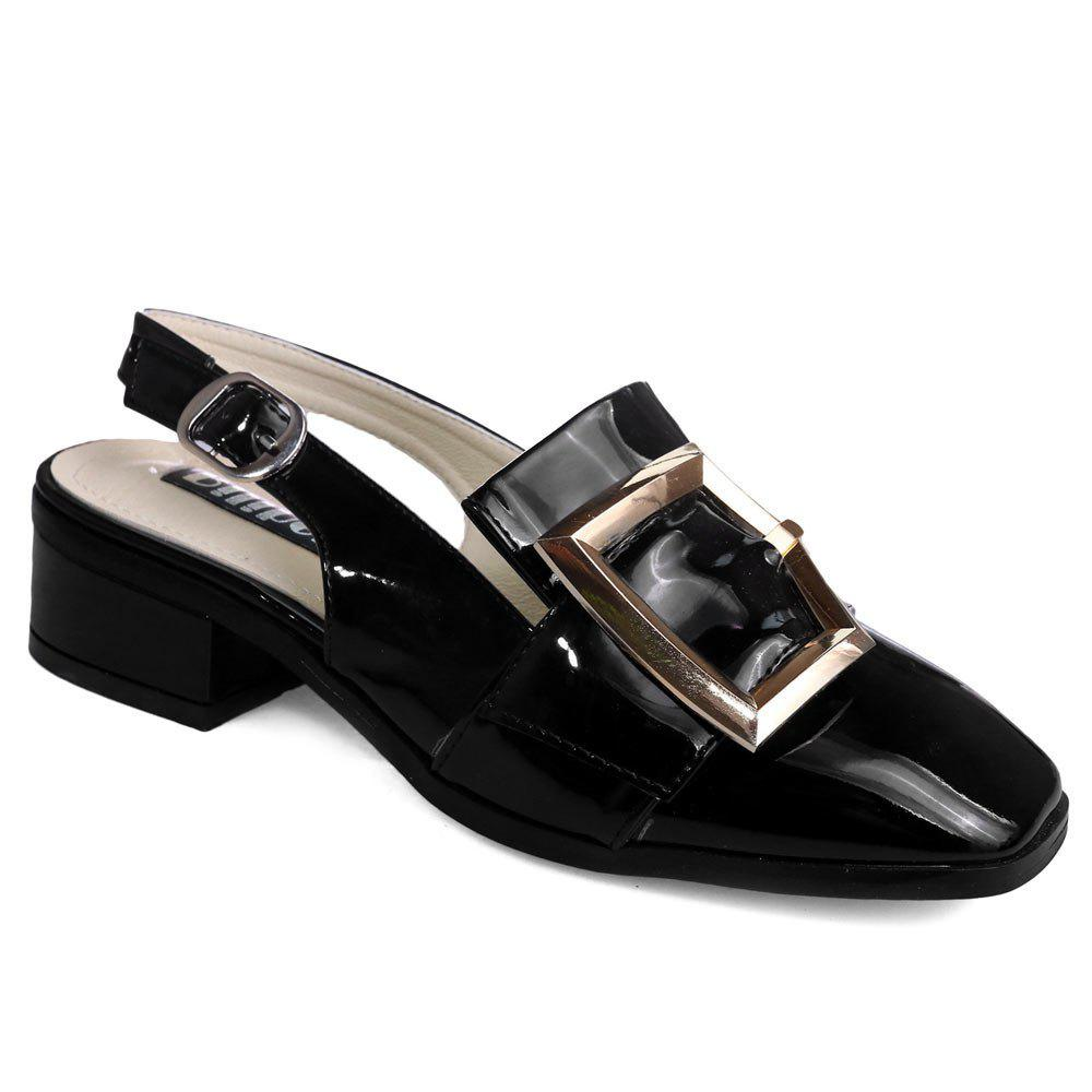 Slingback Double Buckle Strap Pumps - BLACK 39